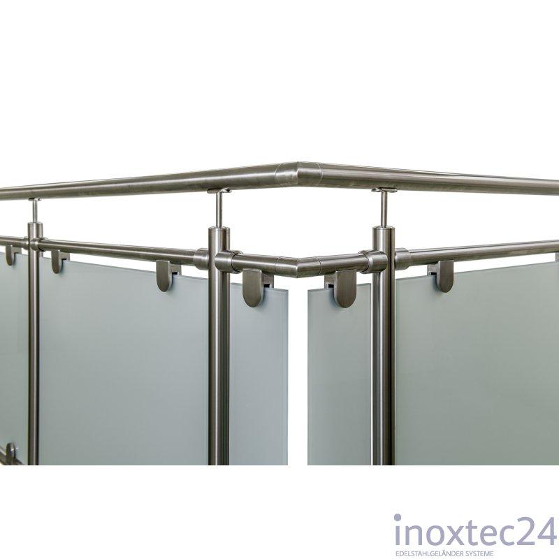 glas gel nder aus edelstahl f r aufgesetzte montage u form gela nderbausa tze aus edelstahl. Black Bedroom Furniture Sets. Home Design Ideas