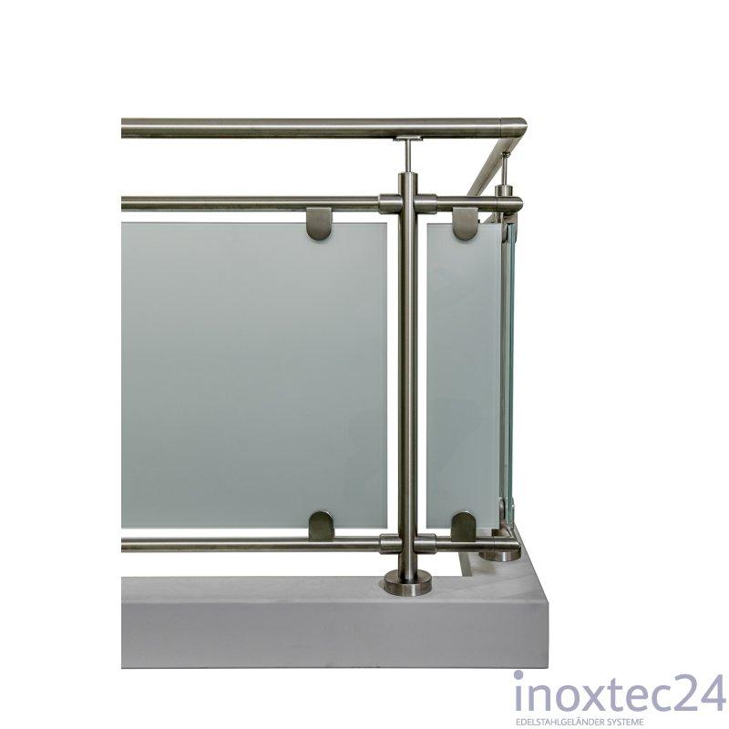 glas gel nder nach mass aus edelstahl geschliffen f r aufgesetzte montage l form ecke rechts. Black Bedroom Furniture Sets. Home Design Ideas
