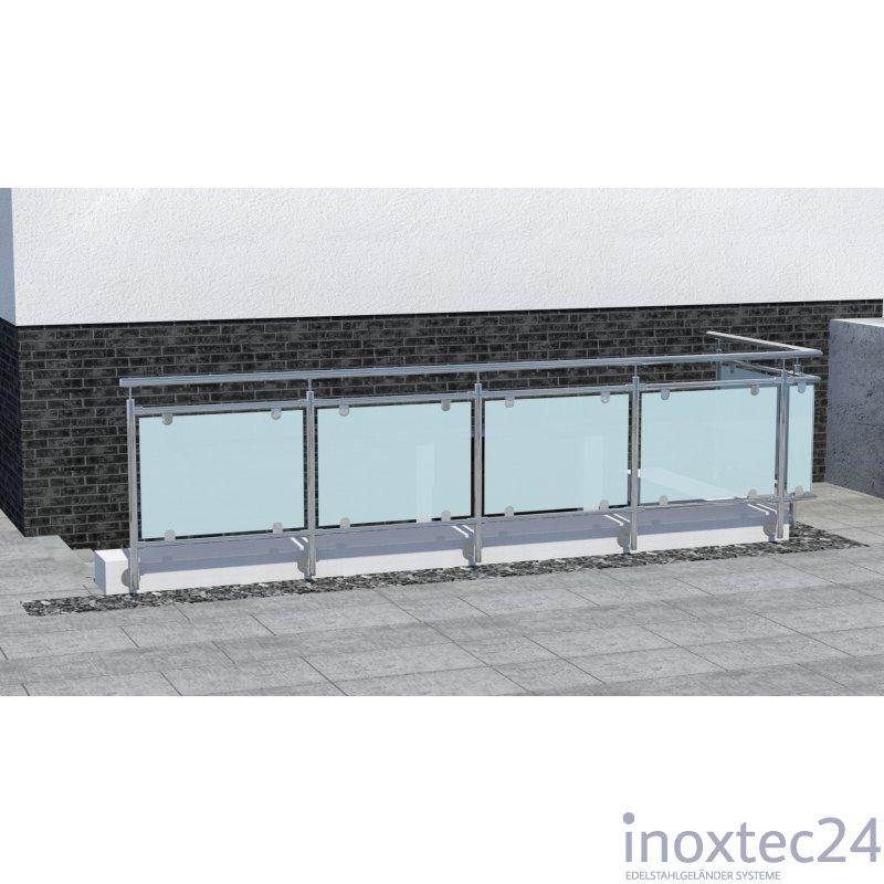glas gel nder nach mass aus edelstahl f r seitliche montage l form ecke links. Black Bedroom Furniture Sets. Home Design Ideas